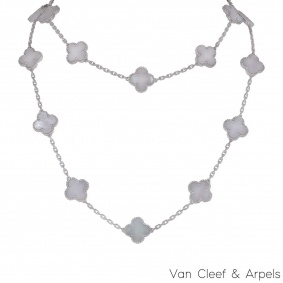 Van Cleef & Arpels White Gold Vintage Alhambra Necklace VCARF48800